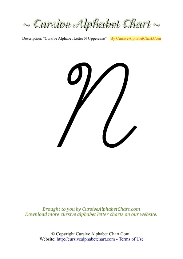 cursive alphabet n download alphabet n cursive chartN In Cursive