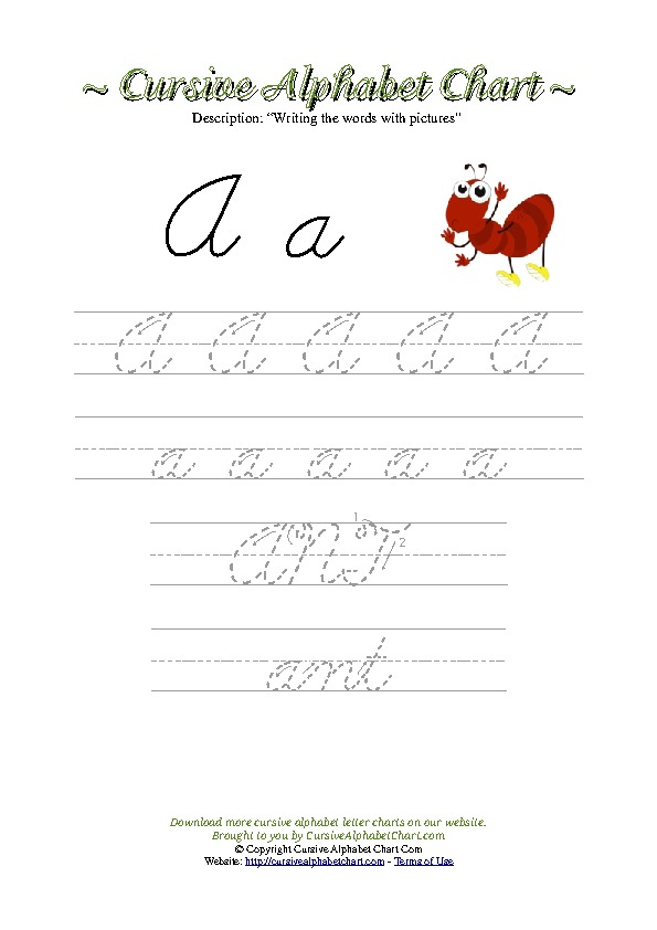 Cursive Letter A Ant Picture Worksheet