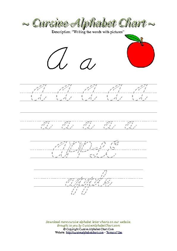 Cursive Letter A Apple Picture Worksheet