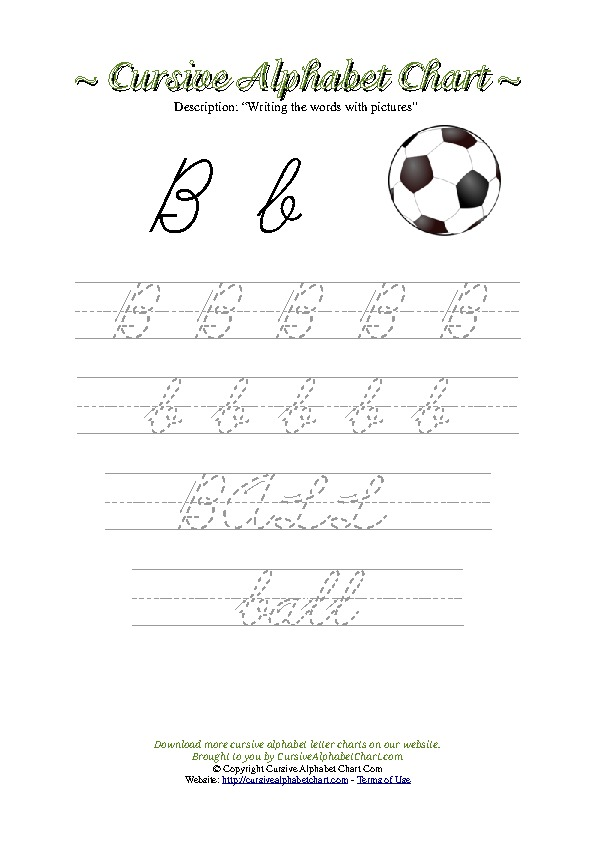 Cursive Letter B Ball Picture Worksheet