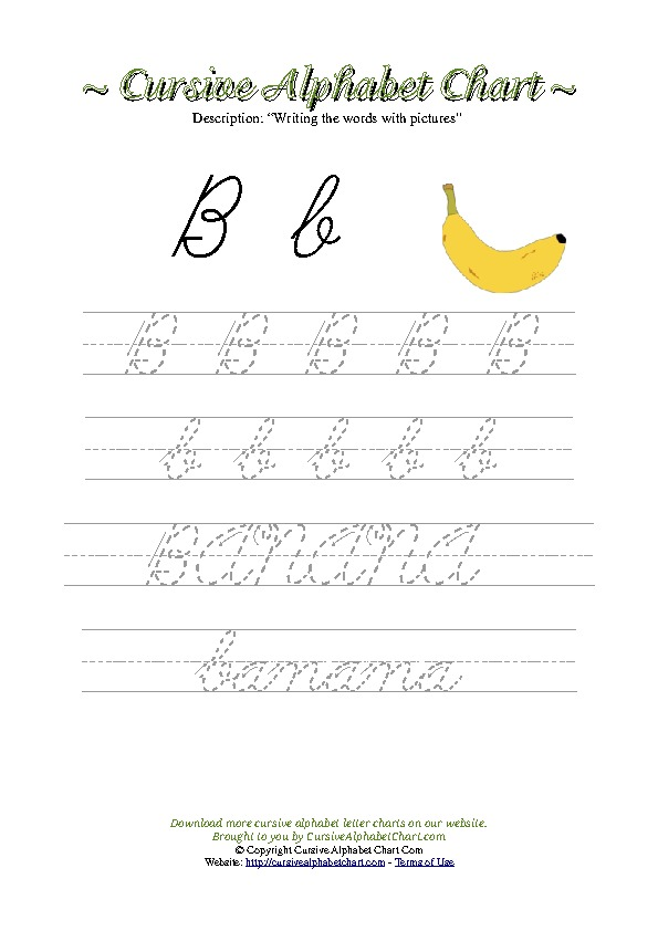 Cursive Letter B Banana Picture Worksheet