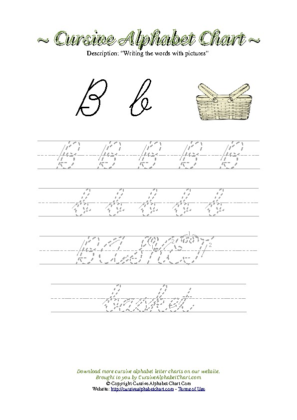Cursive Letter B Basket Picture Worksheet