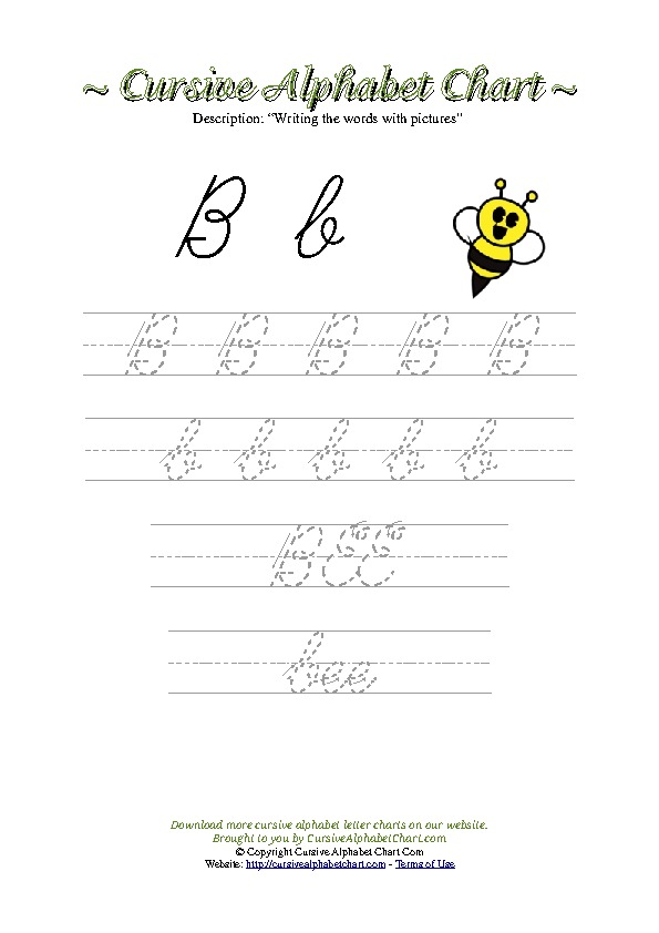 Cursive Letter B Bee Picture Worksheet