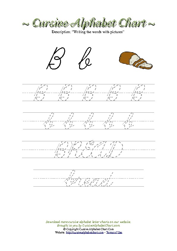 Cursive Letter B Bread Picture Worksheet