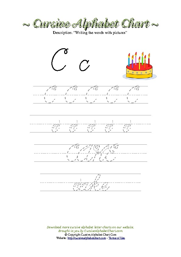 Cursive Letter C Cake Picture Worksheet
