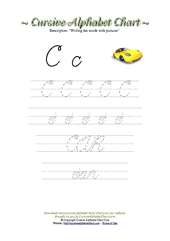 Cursive Letter C Car Picture Worksheet