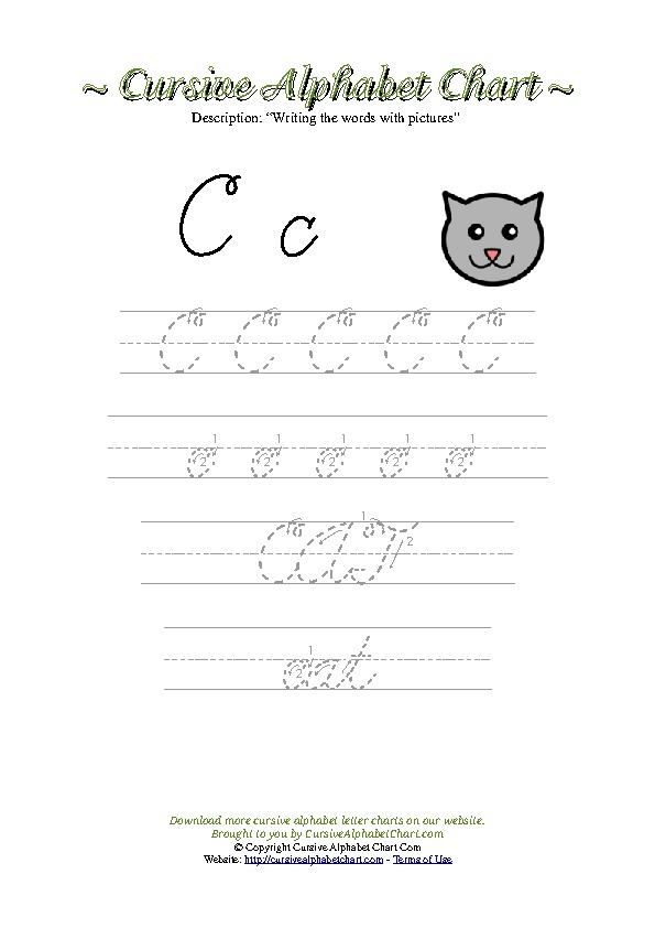 Cursive Letter C Cat Picture Worksheet