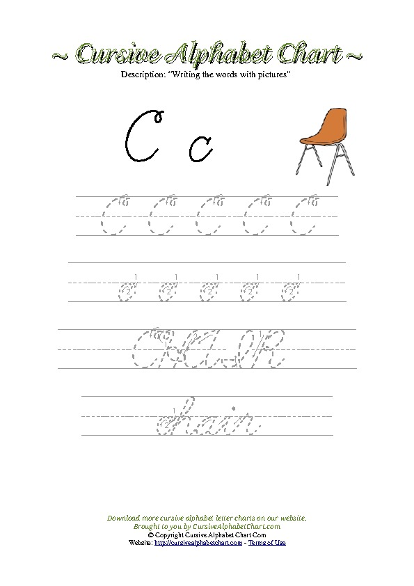 Cursive Letter C Chair Picture Worksheet