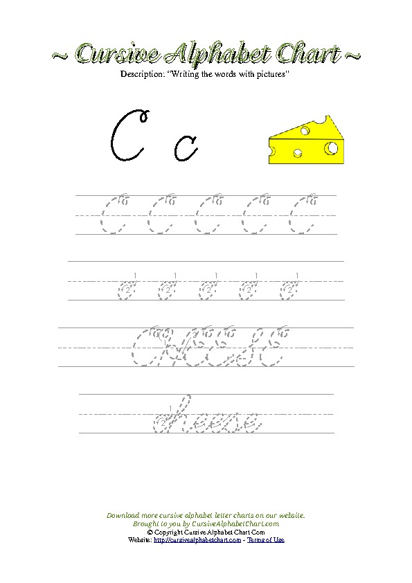 Cursive Letter C Cheese Picture Worksheet