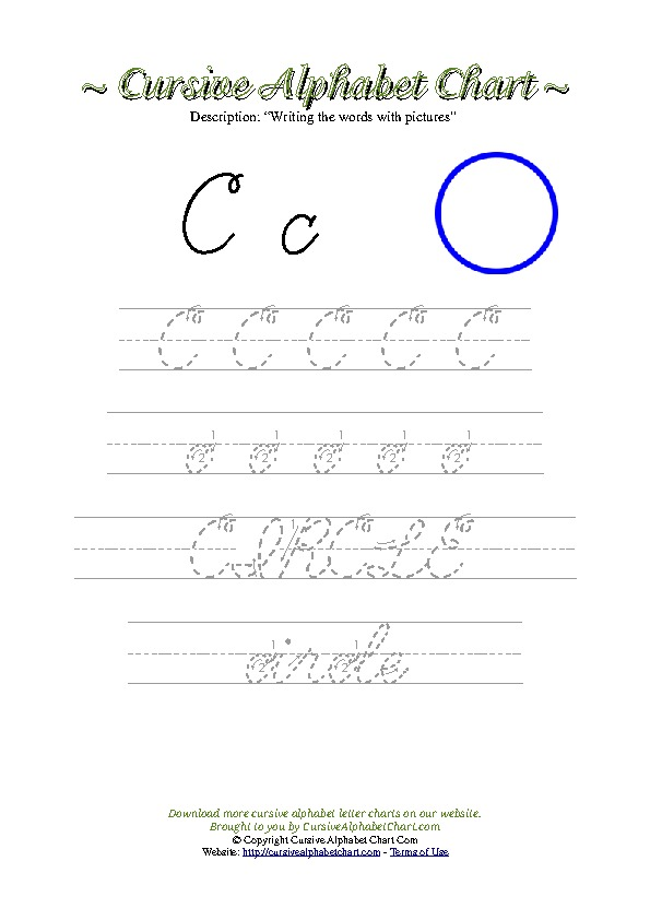 Cursive Letter C Circle Picture Worksheet