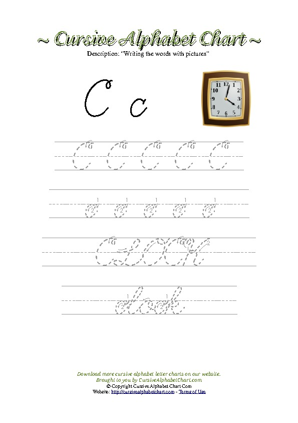 Cursive Letter C Clock Picture Worksheet