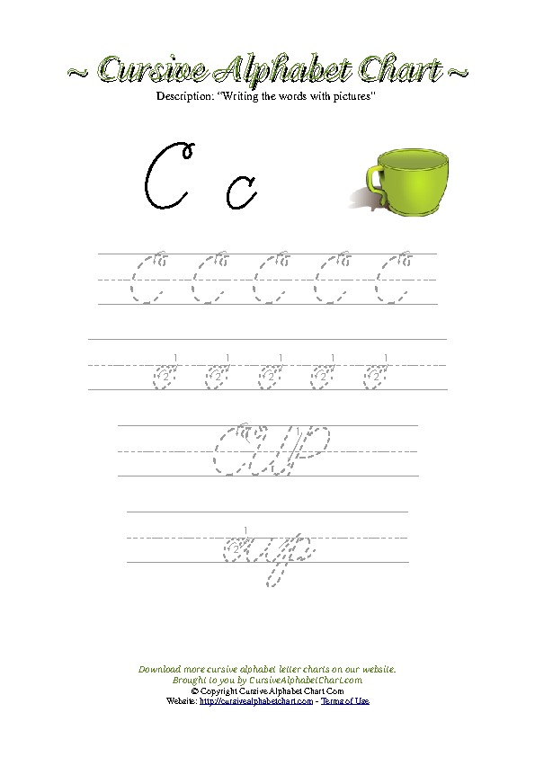 Cursive Letter C Cup Picture Worksheet