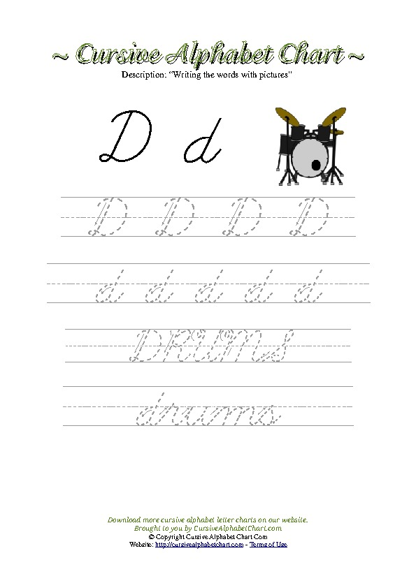 Cursive Letter D Drums Picture Worksheet