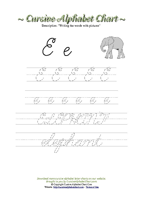 Cursive Letter E Elephant Picture Worksheet