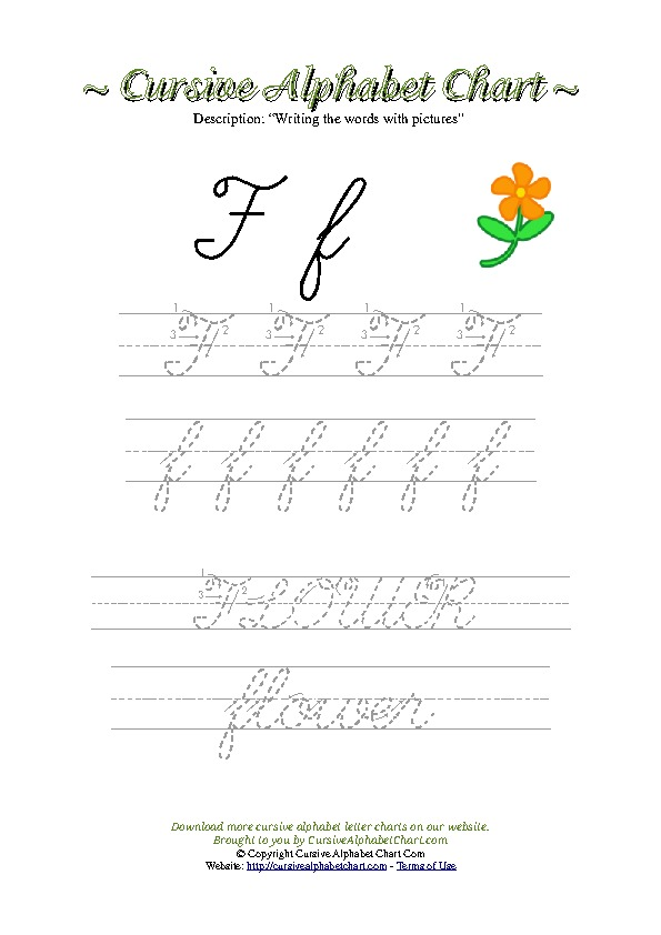 Cursive Letter F Flower Picture Worksheet