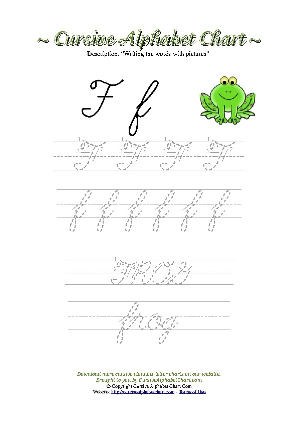 Cursive Letter F Frog Picture Worksheet