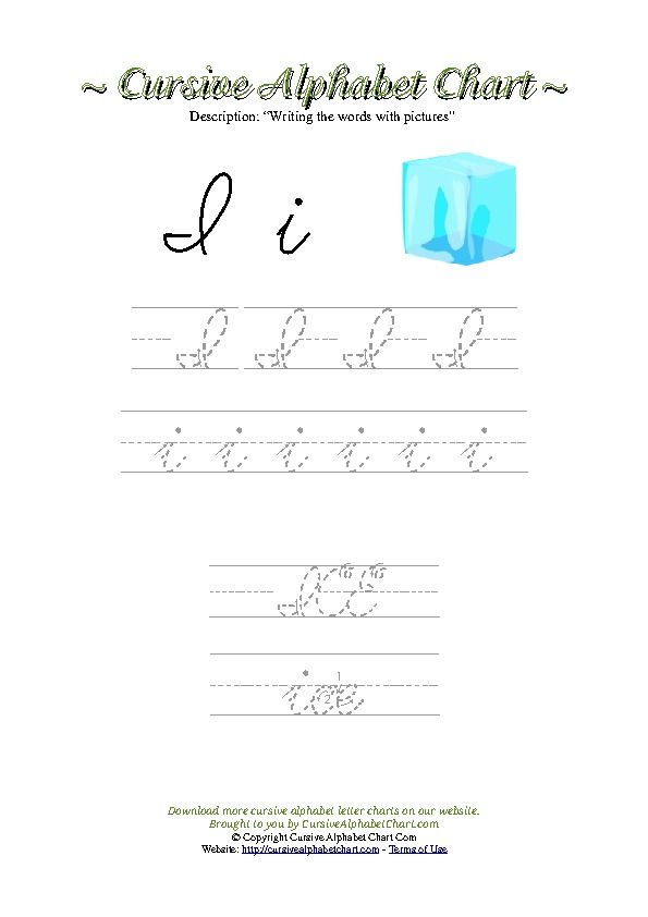 Cursive Letter I Ice Picture Worksheet