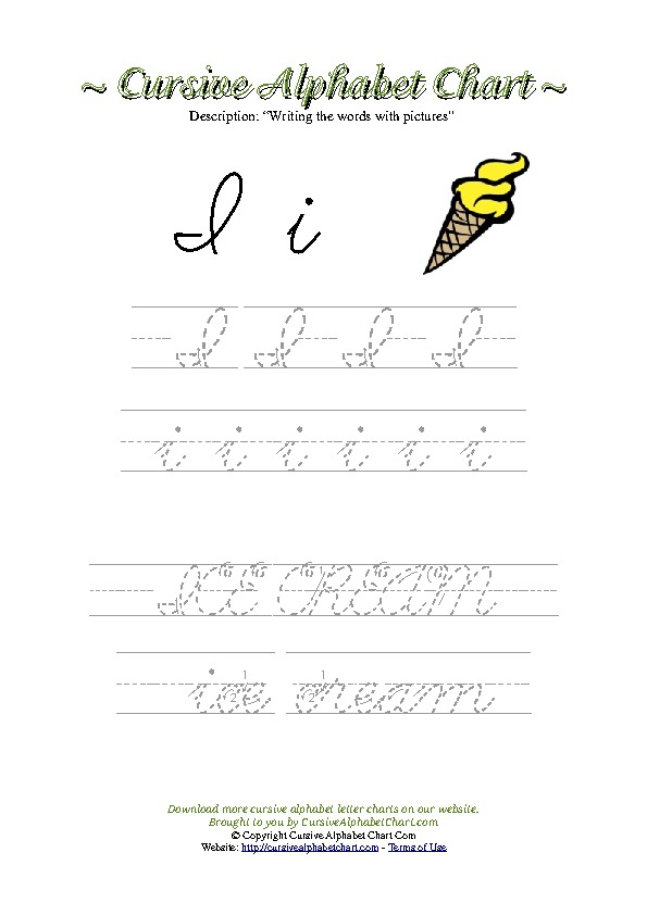 Cursive Letter I Icecream Picture Worksheet