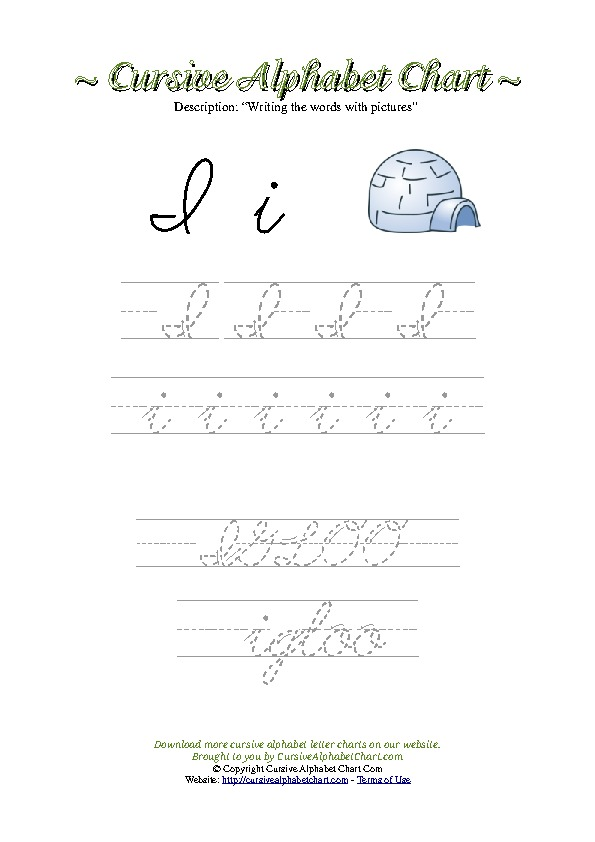 Cursive Letter I Igloo Picture Worksheet