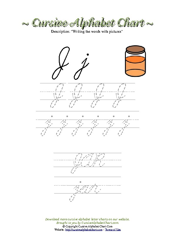 Cursive Letter J Jar Picture Worksheet