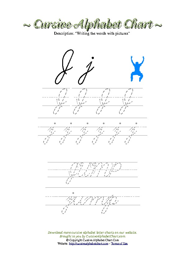 Cursive Letter J Jump Picture Worksheet