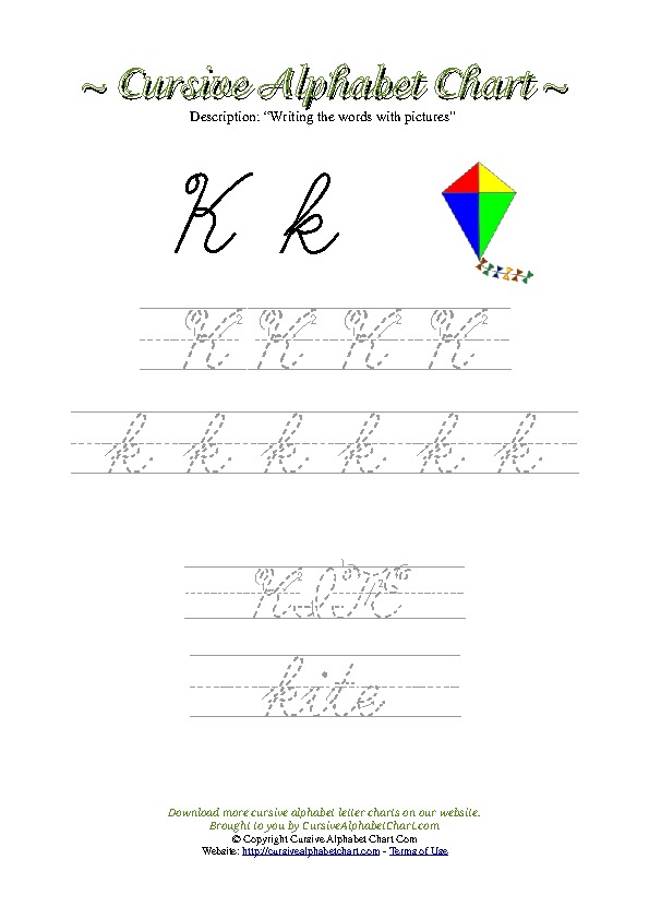 Cursive Letter K Kite Picture Worksheet