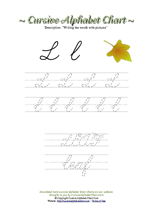Cursive Letter L Leaf Picture Worksheet