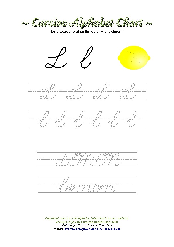 Cursive Letter L Lemon Picture Worksheet