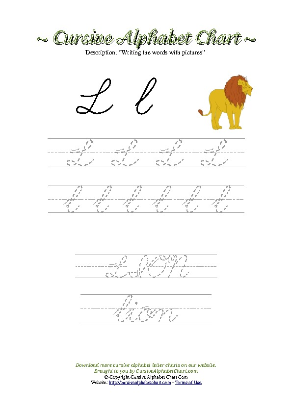 Cursive Letter L Lion Picture Worksheet