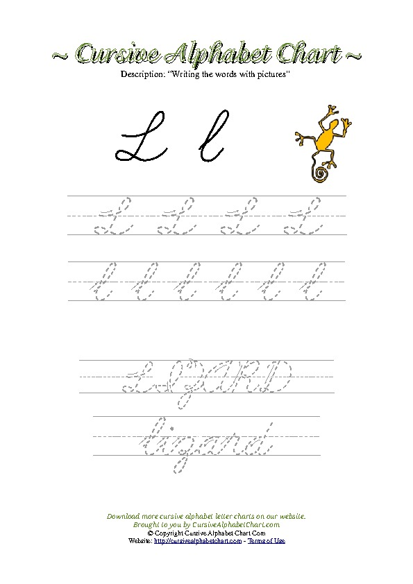 Cursive Letter L Lizard Picture Worksheet