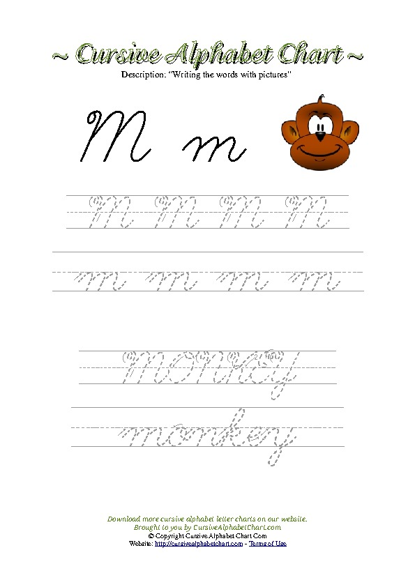 Cursive Letter M Monkey Picture Worksheet