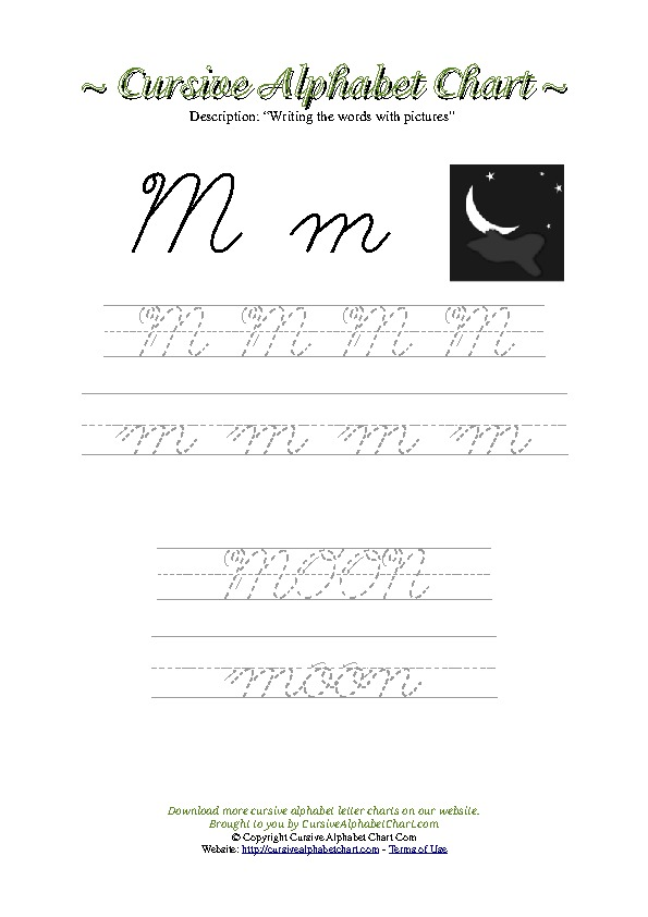 Cursive Letter M Moon Picture Worksheet