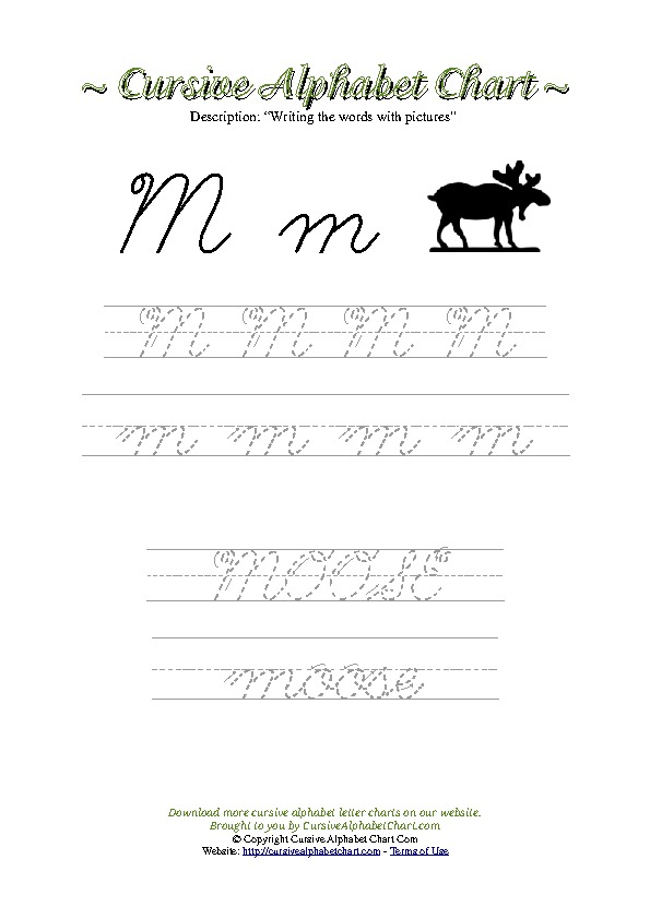 Cursive Letter M Moose Picture Worksheet