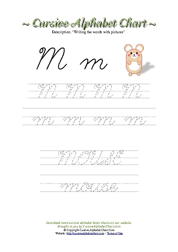 Cursive Letter M Mouse Picture Worksheet