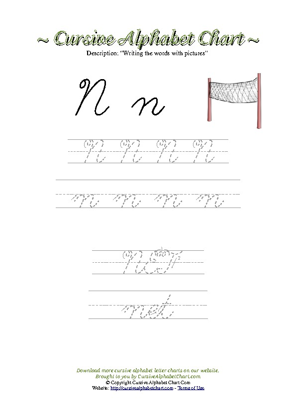 Cursive Letter N Net Picture Worksheet