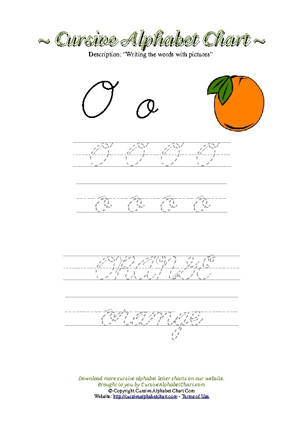 Cursive Letter O Orange Picture Worksheet