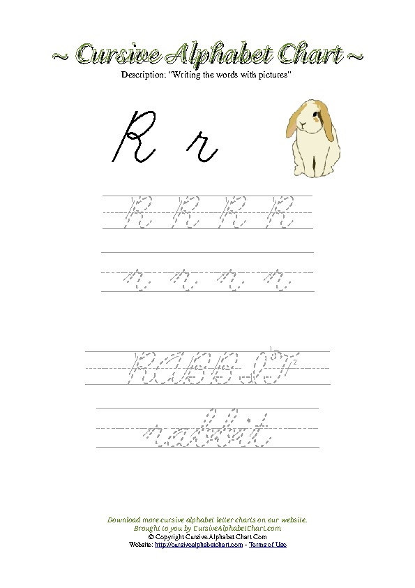 Cursive Letter R Rabbit Picture Worksheet
