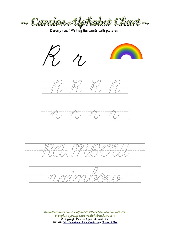 Cursive Letter R Rainbow Picture Worksheet