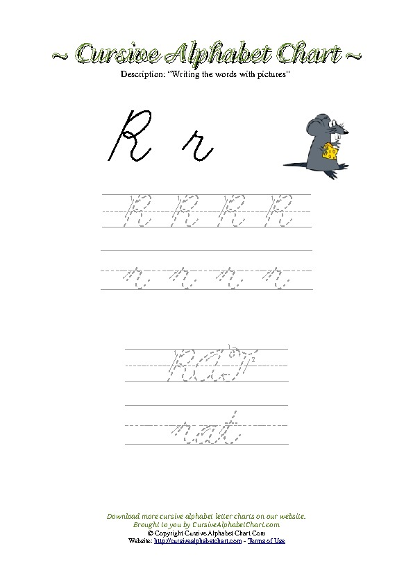 Cursive Letter R Rat Picture Worksheet
