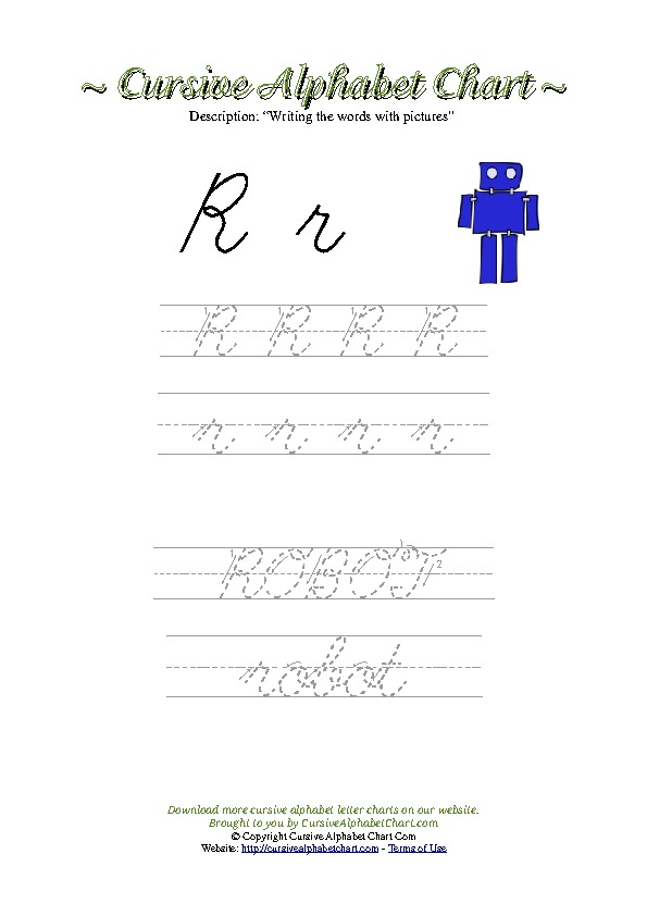 Cursive Letter R Robot Picture Worksheet