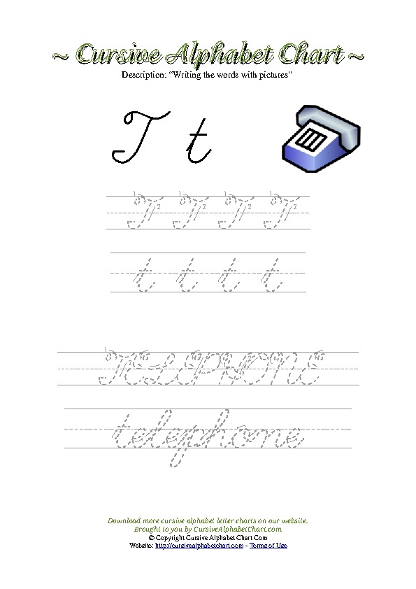 Cursive Letter T Telephone Picture Worksheet