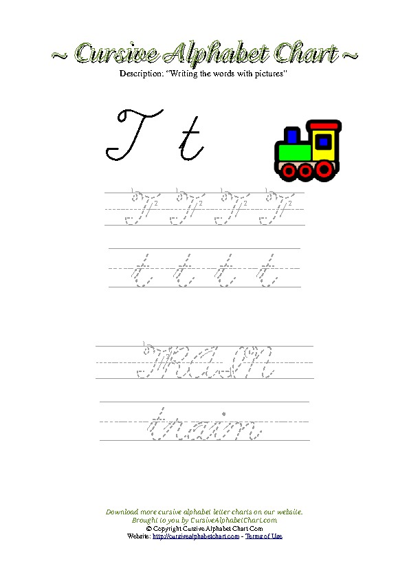 Cursive Letter T Train Picture Worksheet