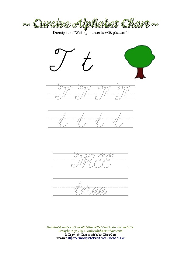 Cursive Letter T Tree Picture Worksheet