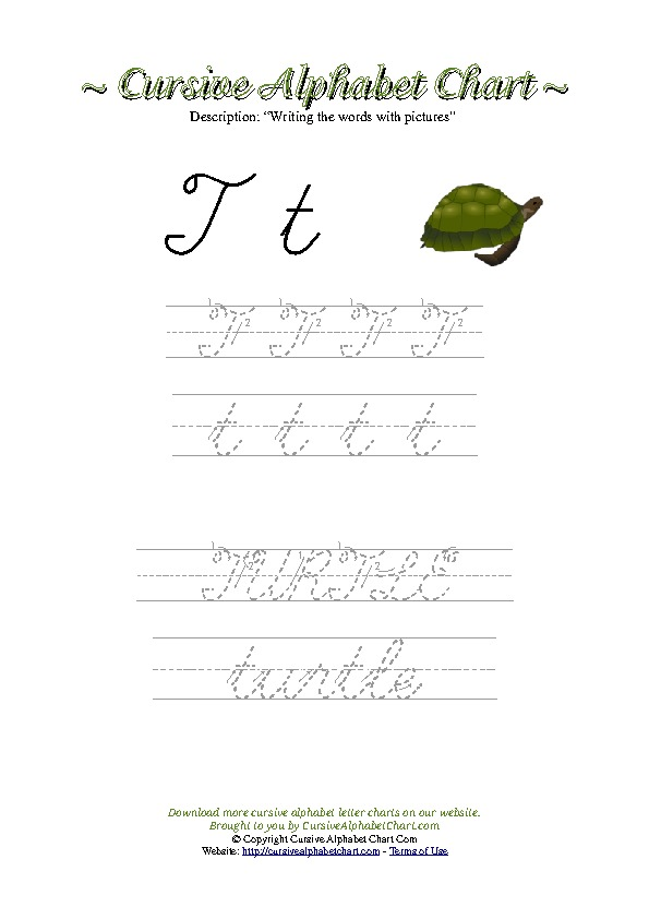 Cursive Letter T Turtle Picture Worksheet