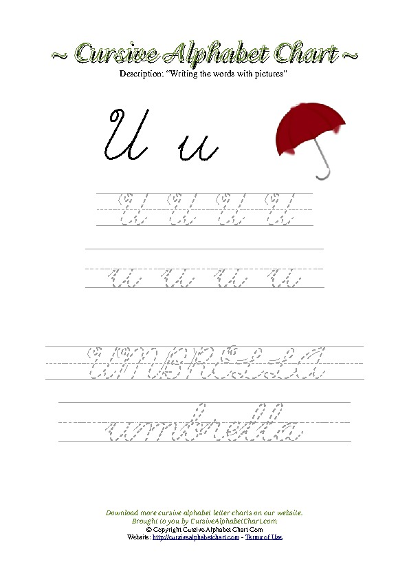 Cursive Letter U Umbrella Picture Worksheet