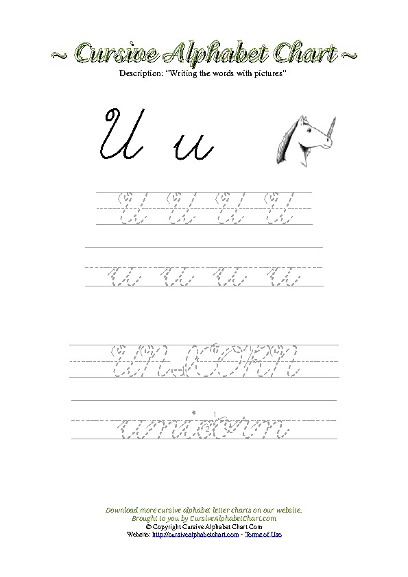 Cursive Letter U Unicorn Picture Worksheet