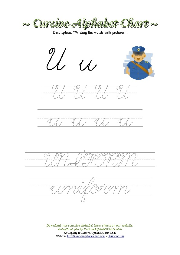 Cursive Letter U Uniform Picture Worksheet