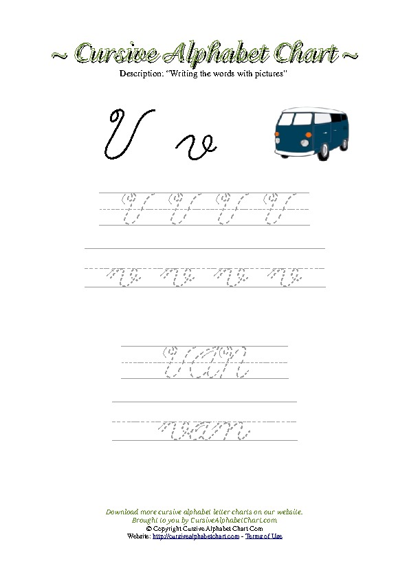 Cursive Letter V Van Picture Worksheet