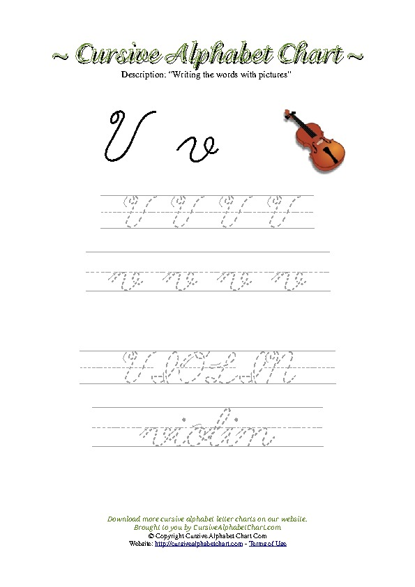 Cursive Letter V Violin Picture Worksheet