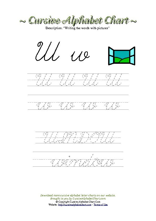 Cursive Letter W Window Picture Worksheet